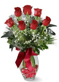 Elazığ çiçek yolla  7 adet kirmizi gül cam vazo yada mika vazoda