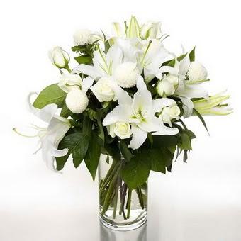 Elazığ anneler günü çiçek yolla  1 dal cazablanca 7 adet beyaz gül vazosu