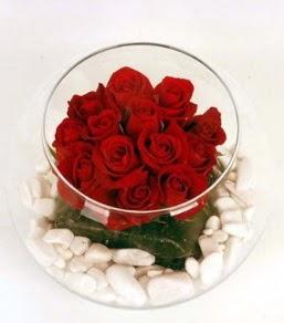 Cam fanusta 11 adet kırmızı gül  Elazığ çiçek online çiçek siparişi