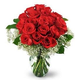 25 adet kırmızı gül cam vazoda  Elazığ kaliteli taze ve ucuz çiçekler