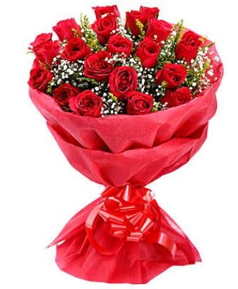 21 adet kırmızı gülden modern buket  Elazığ çiçek online çiçek siparişi