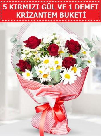 5 adet kırmızı gül ve krizantem buketi  Elazığ çiçek mağazası , çiçekçi adresleri