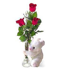oyuncak ve 3 adet gül  Elazığ çiçek yolla , çiçek gönder , çiçekçi