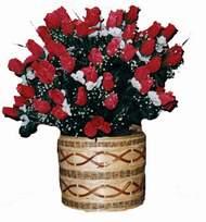 yapay kirmizi güller sepeti   Elazığ çiçek siparişi vermek