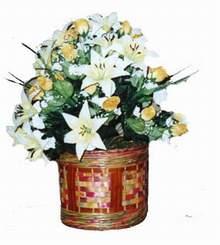 yapay karisik çiçek sepeti   Elazığ çiçek , çiçekçi , çiçekçilik