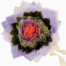 12 adet gül ve elyaflardan   Elazığ online çiçekçi , çiçek siparişi