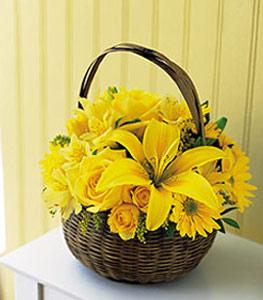 sepet içerisinde sarinin sihri  Elazığ çiçek , çiçekçi , çiçekçilik