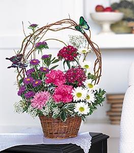 Elazığ çiçek , çiçekçi , çiçekçilik  sepet içerisinde karanfil gerbera ve kir çiçekleri