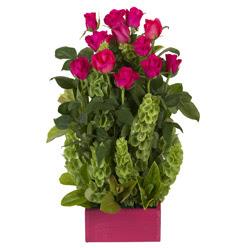 12 adet kirmizi gül aranjmani  Elazığ internetten çiçek siparişi