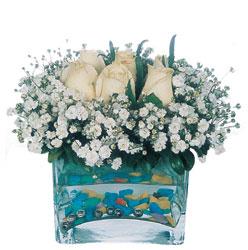 Elazığ online çiçekçi , çiçek siparişi  mika yada cam içerisinde 7 adet beyaz gül