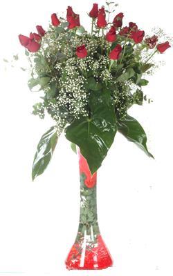 Elazığ ucuz çiçek gönder  19 ADET GÜL VE FIL CAM AYAGI