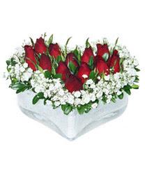Elazığ çiçek yolla  mika kalp içerisinde 9 adet kirmizi gül
