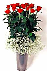 Elazığ çiçek satışı  9 adet kirmizi gül cam yada mika vazoda