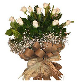 Elazığ çiçek servisi , çiçekçi adresleri  9 adet beyaz gül buketi