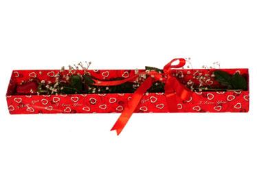 Elazığ çiçek servisi , çiçekçi adresleri  kutu içerisinde 1 adet kirmizi gül