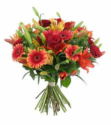 Elazığ çiçek online çiçek siparişi  3 adet kirmizi gül ve karisik kir çiçekleri demeti