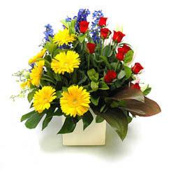 Elazığ çiçekçi telefonları  9 adet gül ve kir çiçekleri cam yada mika vazoda