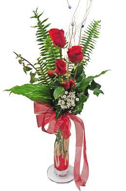 Çiçek gönderin cam vazoda 3 gül çiçekleri  Elazığ çiçek yolla , çiçek gönder , çiçekçi