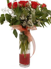 Elazığ ucuz çiçek gönder  11 adet kirmizi gül vazo çiçegi