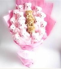 17 adet pelus ayicik buketi  Elazığ 14 şubat sevgililer günü çiçek
