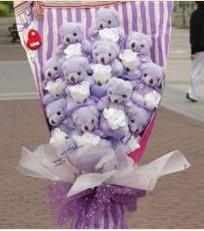 11 adet pelus ayicik buketi  Elazığ anneler günü çiçek yolla