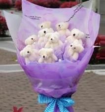 11 adet pelus ayicik buketi  Elazığ güvenli kaliteli hızlı çiçek