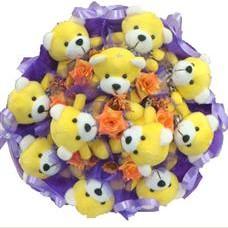 11 adet pelus ayicik buketi  Elazığ internetten çiçek siparişi