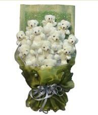 11 adet pelus ayicik buketi  Elazığ çiçekçi telefonları