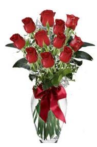 11 adet kirmizi gül vazo mika vazo içinde  Elazığ hediye çiçek yolla