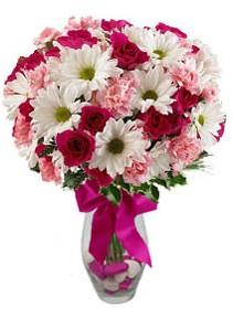 Elazığ çiçek yolla , çiçek gönder , çiçekçi   Karisik mevsim kir çiçegi vazosu