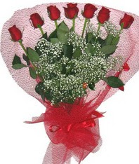7 adet kipkirmizi gülden görsel buket  Elazığ internetten çiçek siparişi