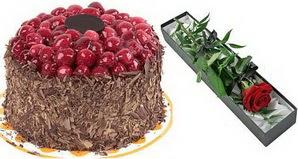 1 adet yas pasta ve 1 adet kutu gül  Elazığ ucuz çiçek gönder