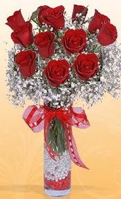 10 adet kirmizi gülden vazo tanzimi  Elazığ çiçek yolla , çiçek gönder , çiçekçi