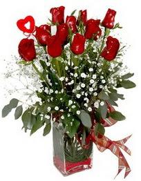Elazığ çiçek gönderme  9 adet mika yada cam vazoda gül tanzimi kalp çubuk