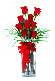 Elazığ çiçek servisi , çiçekçi adresleri  9 adet mika yada cam vazoda gül tanzimi