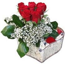 Elazığ online çiçek gönderme sipariş  kalp mika içerisinde 7 adet kirmizi gül