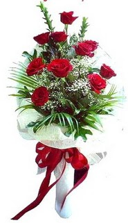 Elazığ güvenli kaliteli hızlı çiçek  10 adet kirmizi gül buketi demeti