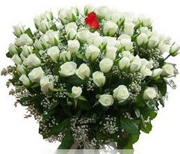 Elazığ İnternetten çiçek siparişi  100 adet beyaz 1 adet kirmizi gül buketi