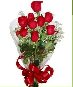 Elazığ ucuz çiçek gönder  10 adet kırmızı gülden görsel buket