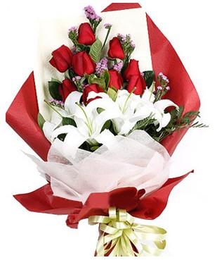 Elazığ çiçek gönderme sitemiz güvenlidir  1 dal kazablankaa 9 adet kırmızı gül buketi