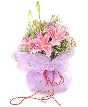 3 dal kazablanka görsel buketi  Elazığ İnternetten çiçek siparişi