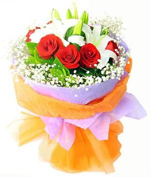Elazığ anneler günü çiçek yolla  1 dal kazablanka 7 adet kırmızı gül buketi