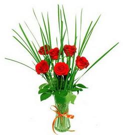 Elazığ kaliteli taze ve ucuz çiçekler  6 adet kırmızı güllerden vazo çiçeği