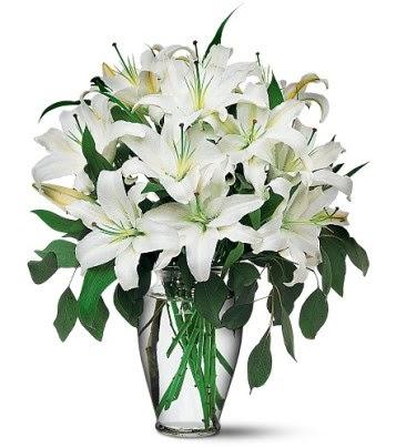 Elazığ İnternetten çiçek siparişi  4 dal kazablanka ile görsel vazo tanzimi