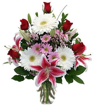 Elazığ internetten çiçek siparişi  1 dal kazablanka 5 gül ve kırçiçeği vazosu
