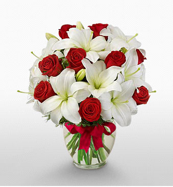 Elazığ yurtiçi ve yurtdışı çiçek siparişi  1 dal kazablanka 11 adet kırmızı gül vazosu