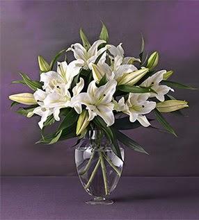 Elazığ 14 şubat sevgililer günü çiçek  4 dal cazablanca vazo çiçeği