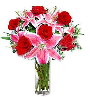 Elazığ hediye sevgilime hediye çiçek  1 dal cazablanca ve 6 kırmızı gül çiçeği