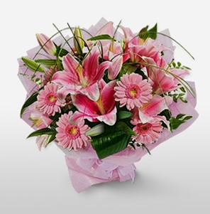1 dal kazablanka ve kır çiçek görsel buketi  Elazığ İnternetten çiçek siparişi