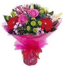 Karışık mevsim çiçekleri demeti  Elazığ çiçekçi telefonları